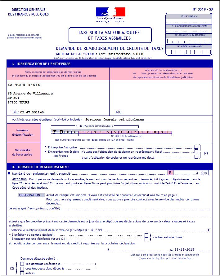 le formulaire 3519