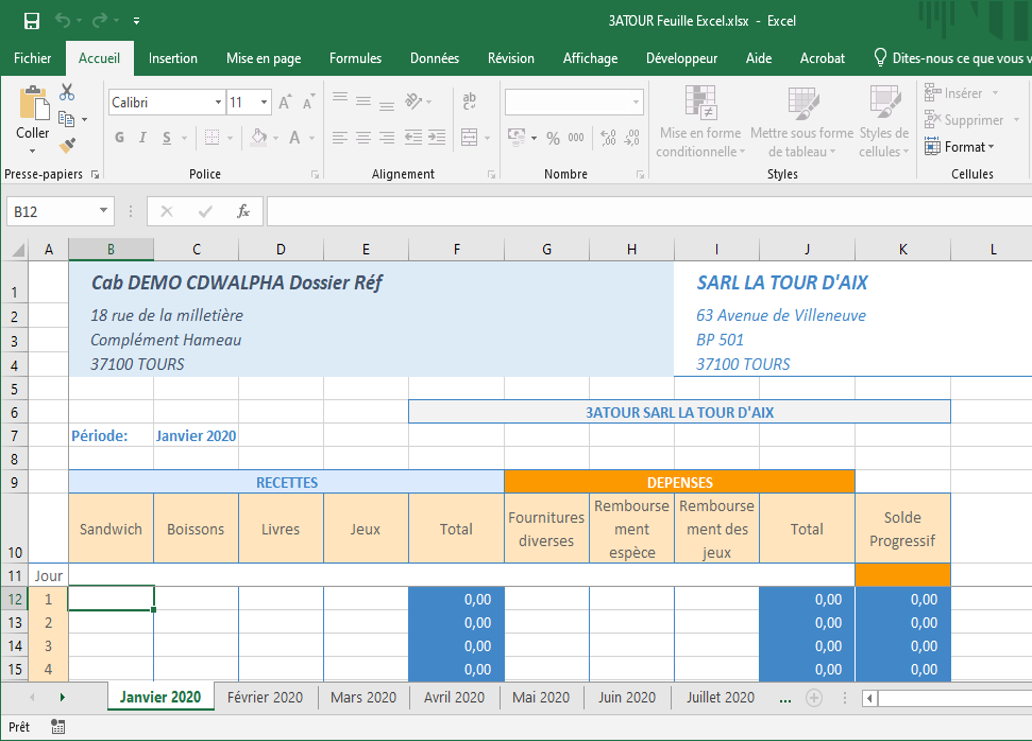 Feuille de saisie Excel